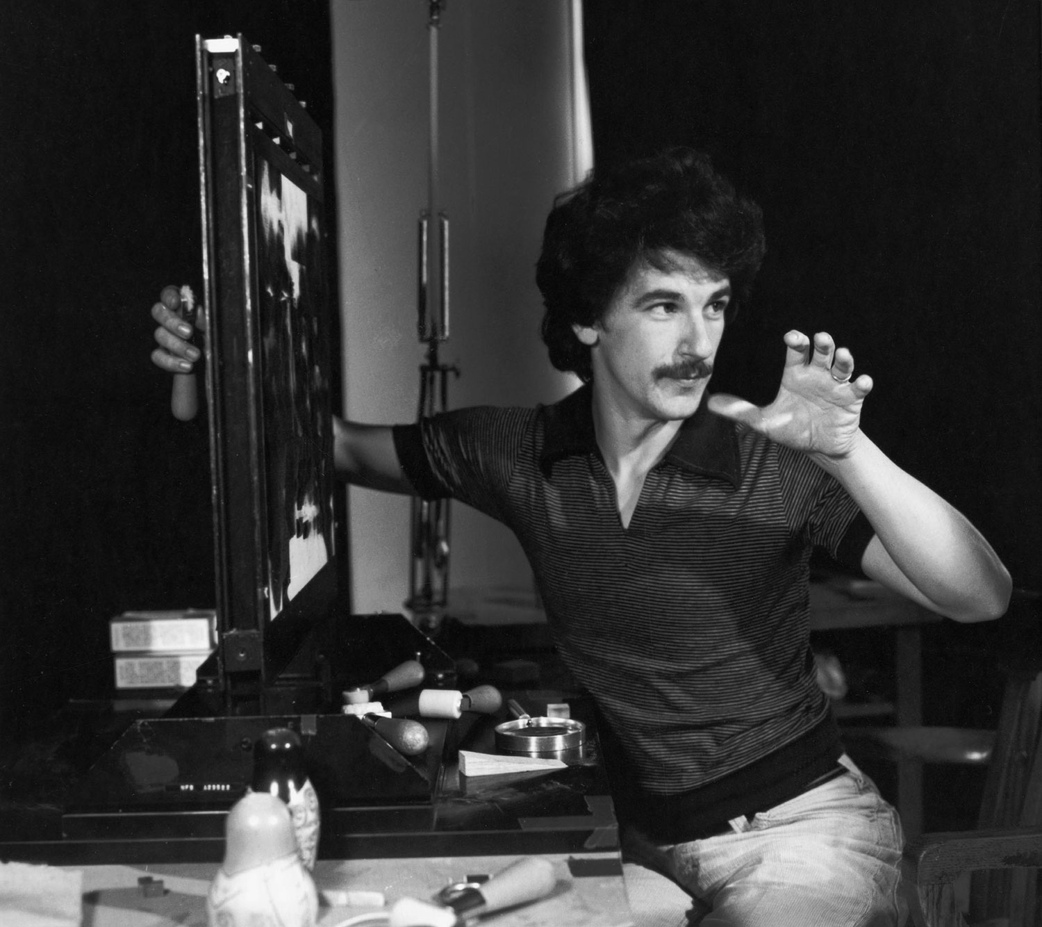 Drouin working with the pinscreen in the 1970s. © National Film Board of Canada. All rights reserved.