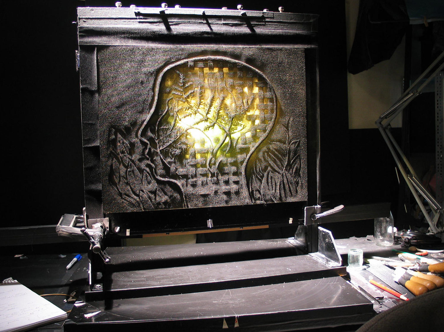"""The pinscreen during the production of """"Imprints."""" © 2004 National Film Board of Canada. All rights reserved."""