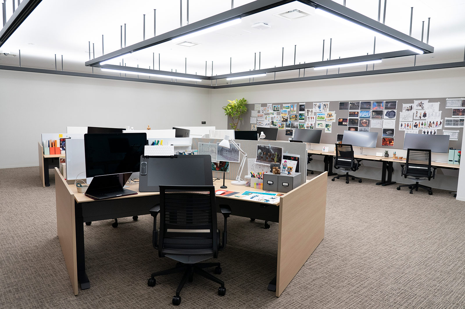 <strong>Designers' Garage:</strong> This space seats up to 10 designers and artists. At launch, designers will focus on creating conceptual art at the early developmental stages of an anime series or film to ensure creative staff is aligned on the look and feel of a project.