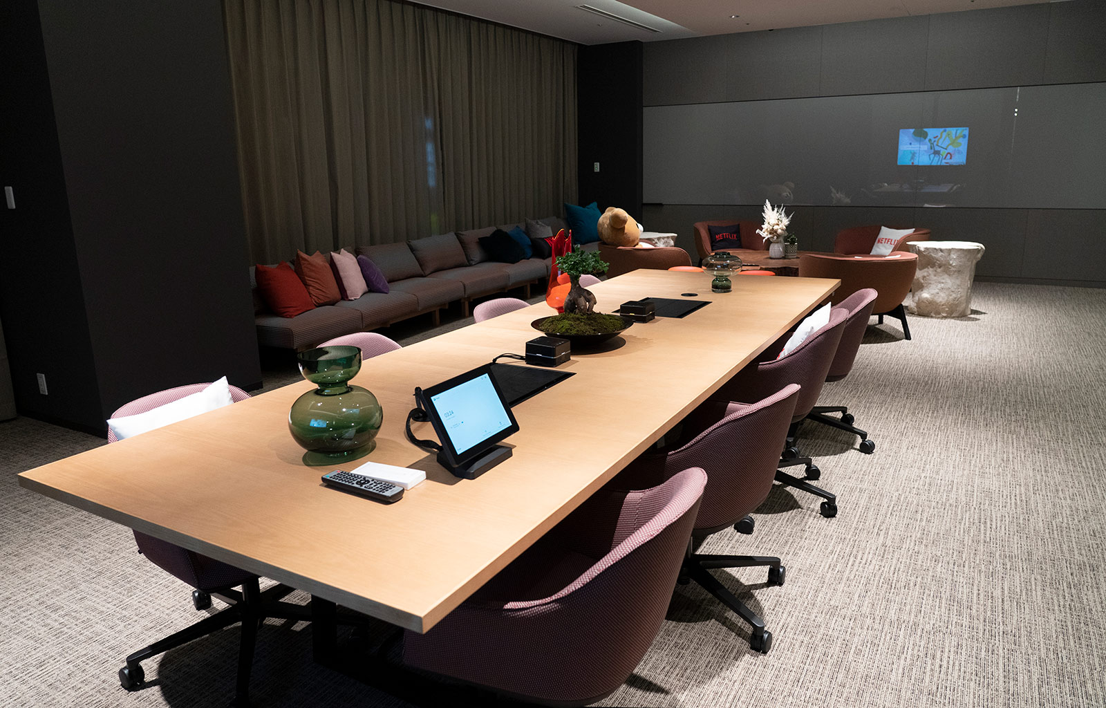 <strong>Writers' Garage:</strong> This meeting room is designed to be a collaborative space for creatives working on anime shows, where teams will develop and edit scripts, and invite creators to discuss new projects (and of course, geek out a little on anime).