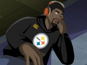 "NICKELODEON TOMLIN RUSH ZONE Steelers' Mike Tomlin joins roster of NFL legends in finale of ""Rush Zone"" on Nicktoons Feb. 5. (PRNewsFoto/Nickelodeon) NEW YORK, NY UNITED STATES"