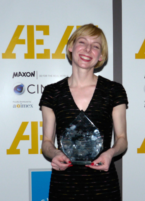 VFX Producer Meredith Meyer-Nichols at Weta with Feature Films Animation Award for 'The Adventrues of Tintin'.