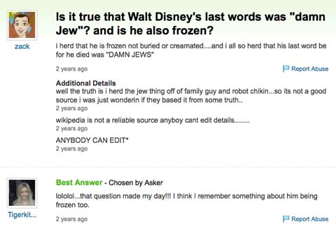 Racist Jew Jokes http://www.cartoonbrew.com/disney/why-walt-disney-is-a-jew-hating-hitler-loving-racist-37185.html