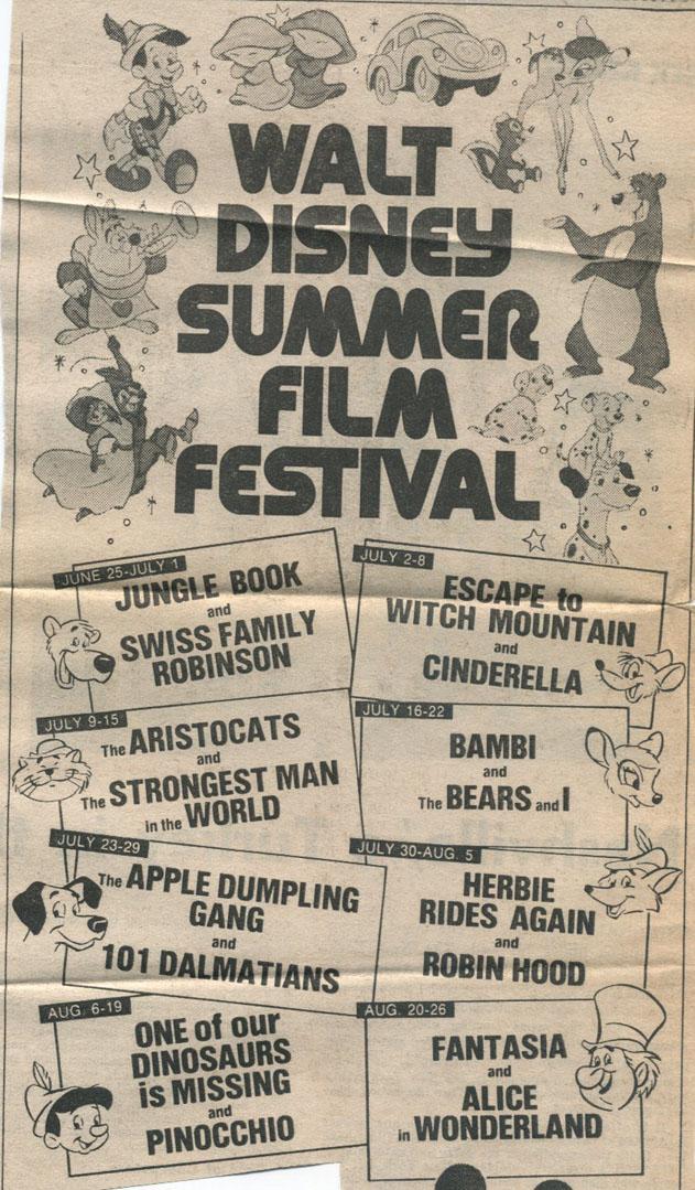 disney 1970s summer film festivals