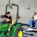John Lasseter in a Tractor