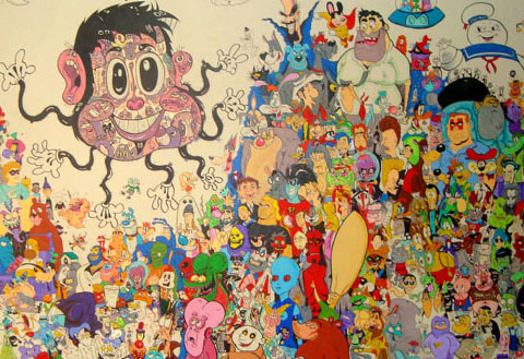 Cartoon crowd mural by makinita for Mural kartun