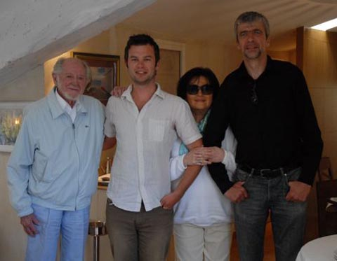 Ronald and Monica Searle with Matt Jones and Uli Meyer (far right).