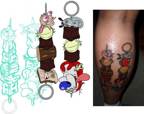 original tattoo design and the finished work on the back of her leg.