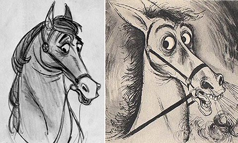 "The influence of Ronald Searle in animated film has been widely felt for the last half century. The design of Samson in Disney's Sleeping Beauty (left) was based on Searle's horses (right). When Searle saw the drawings of Samson, he looked at the designer Tom Oreb and said, ""My horse."""