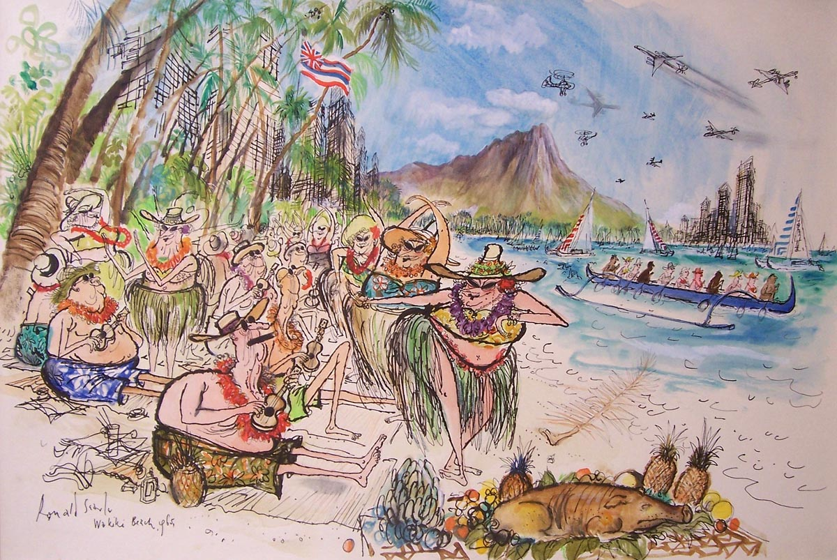 Click on the image for a larger version of this 1965 painting of Waikiki by Ronald Searle. From the collection of Matt Jones.