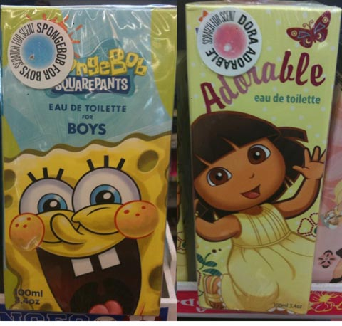 Spongebob and Dora perfumes