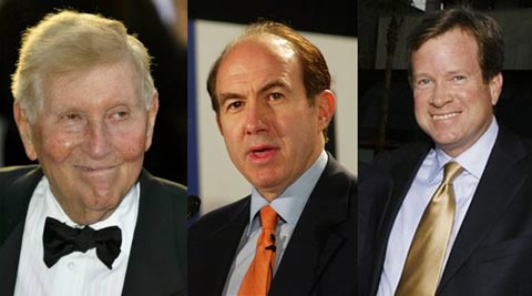 Sumner Redstone, Philippe Dauman and Tom Dooley