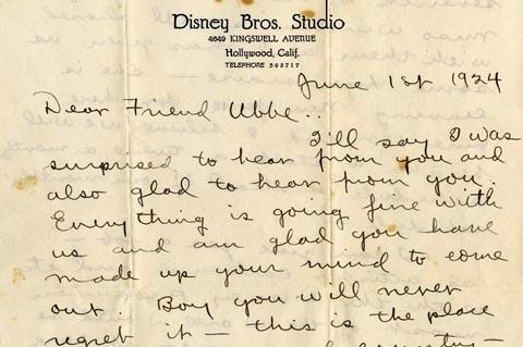 Walt Disney Letter